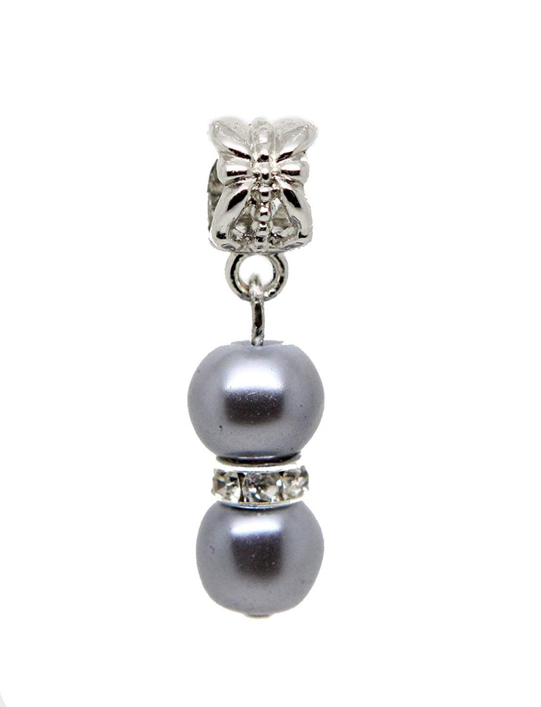 jewelleryjoy Grey Glass Pearl Two Beads Sparkly White Rhinestone Spacer Silver Tone Dangle Bead for European Charm Bracelets Dangle Charm Chain