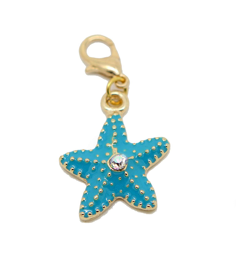 jewelleryjoy Rhinestone Crystal Blue Starfish Marine Gold Tone Clip On Filigree Bead for European Bracelet Charm Bracelets Charms Pendants (red Blue)