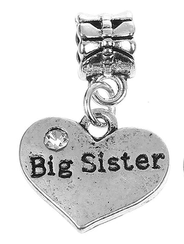 Big Sister Rhinestone Heart Pendant Charm For Charm Bracelets Womens Girls Jewellery - Pendants and Charms