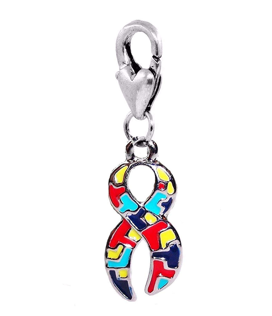 Awareness Ribbon Autism Puzzle Dangle Clip On Lobster Clasp Silver Plated in Organza Bag - Pendants and Charms