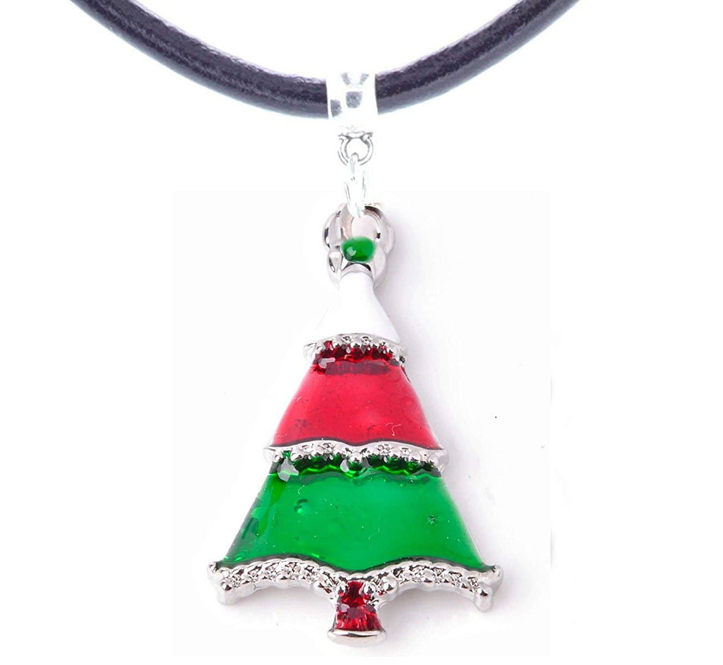 Christmas Green Tree Woman's Necklace in Organza Gift Bag