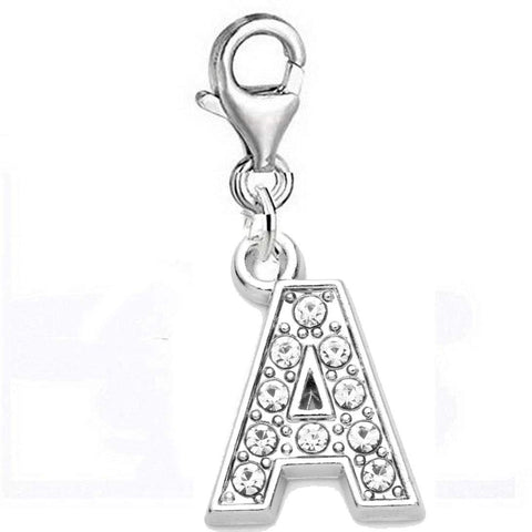 Clip On A-Z Alphabet Initial Letters Crystal Charms Pendant