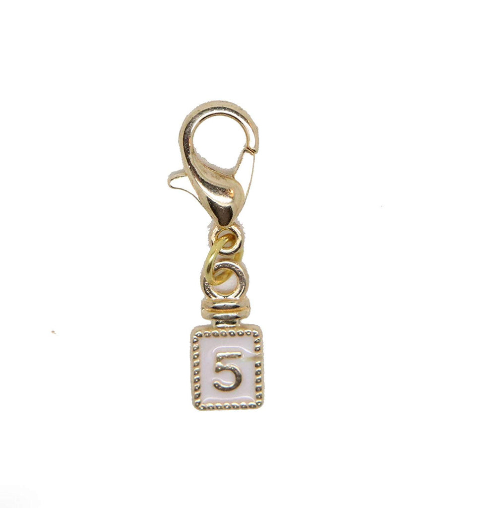 jewelleryjoy Number 5 Bottle Charms Pendant White Enamel Gold Clip On in Organza Gift Bag