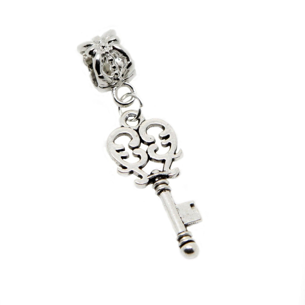 Silver Tone Filigree Key charm pendant  bead (silver clip on) - Pendants and Charms