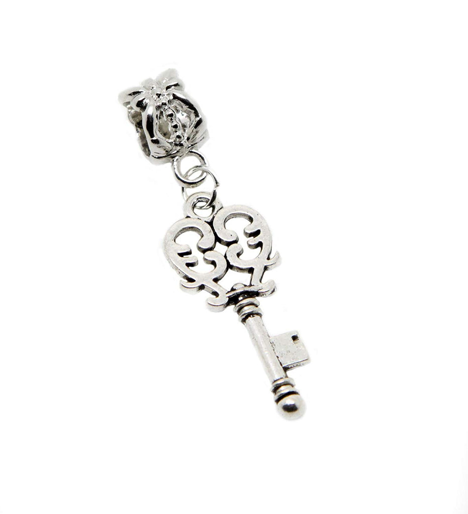 Filigree Key Dangle Bead for Silver European Charm Bracelets in Organza Gift Bag