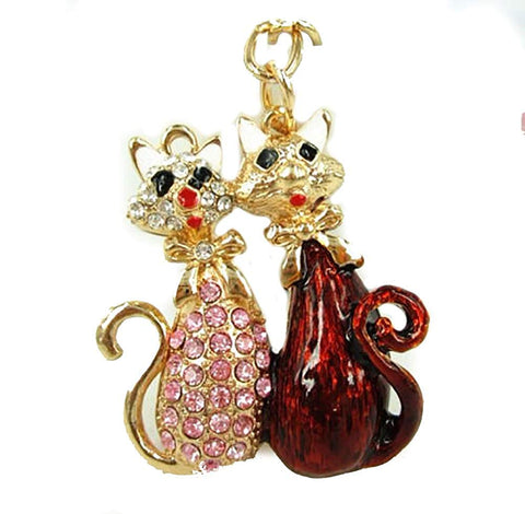 ArkadiaGifts Two cats pink red enamel rhinestone gold tone keyring bag chain charm - Pendants and Charms