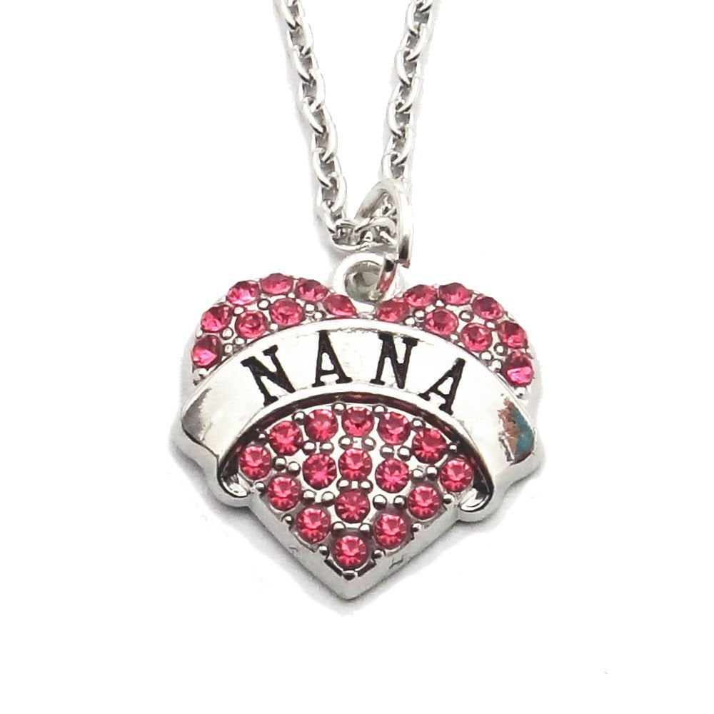 jewelleryjoy Nana Pink Rhinestones Heart Charm Pendant Necklace in Organza Gift Bag