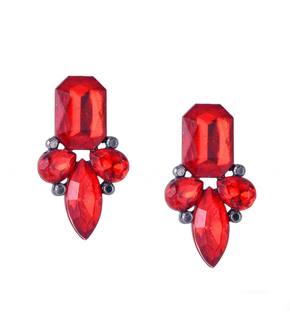 Red Acrylic Crystal Stud Earrings Statement Bib Gold Plated In Organza Gift Bag