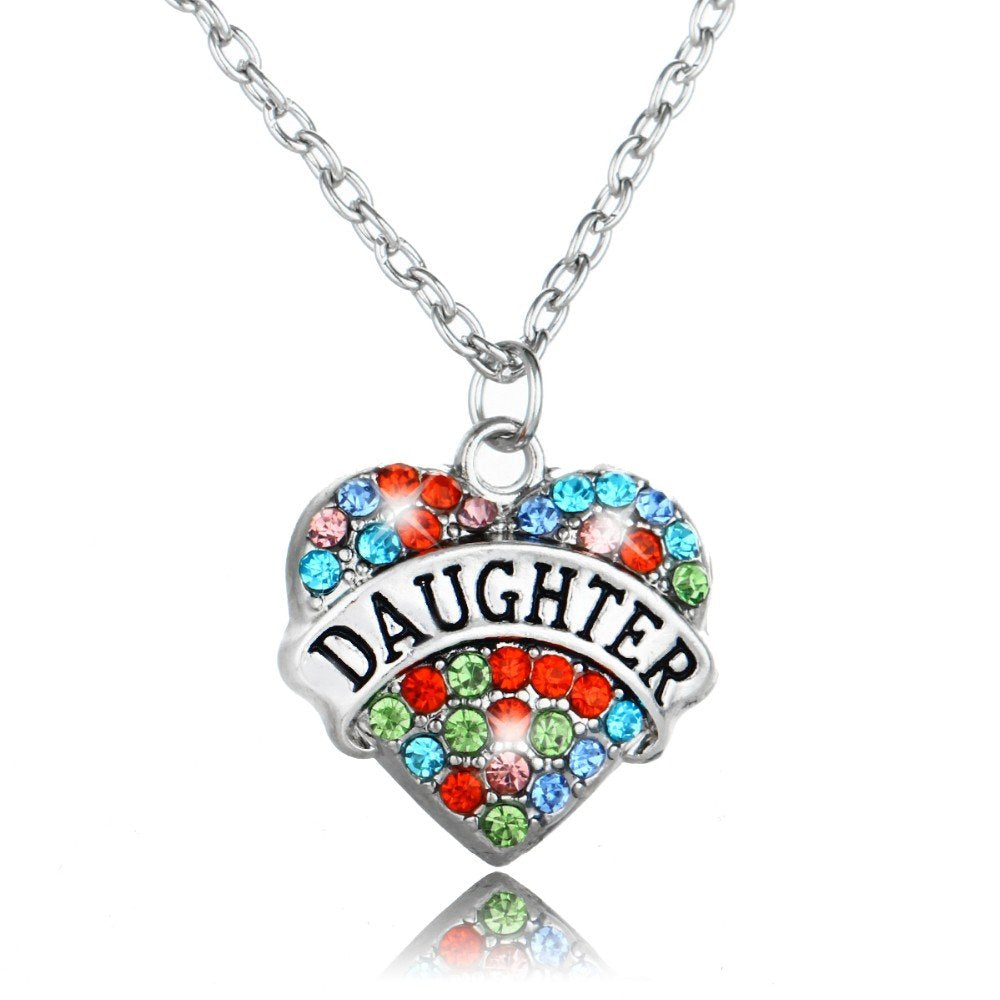 Daughter Silver Rhinestones Heart Charm Pendant Necklace in a Organza Gift Bag