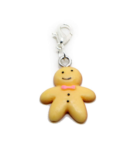jewelleryjoy Ginger Man Gingerbread Man Children Toy Christmas Acrylic Gift Dangle Bead for Silver European Charm Bracelets Clip On Charm Chain Link Bracelet