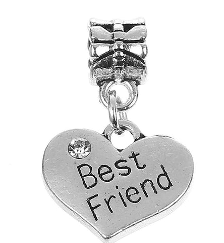 Best Friend Rhinestone Heart Pendant Charm For Charm Bracelets Womens Girls Jewellery - Pendants and Charms