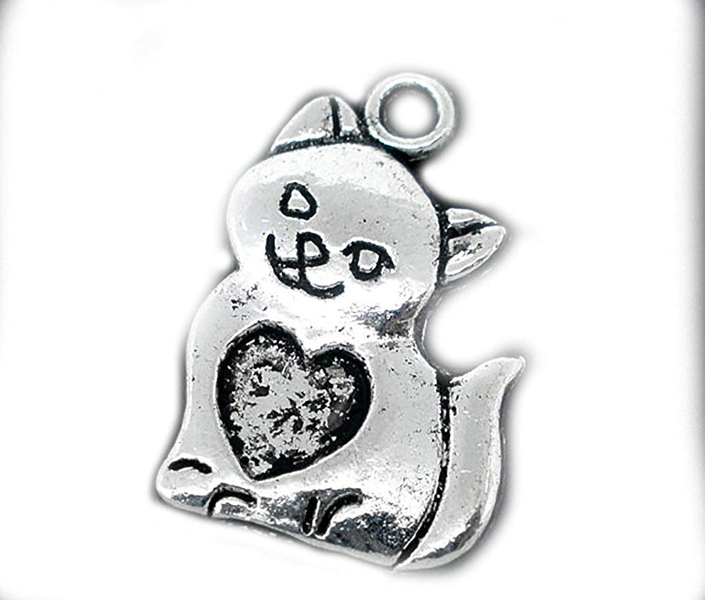 2 pieces Dull Silver Tone Cat Smiling Kitten with Heart Charms Pendants for bracelet necklace making 22x14mm - Pendants and Charms