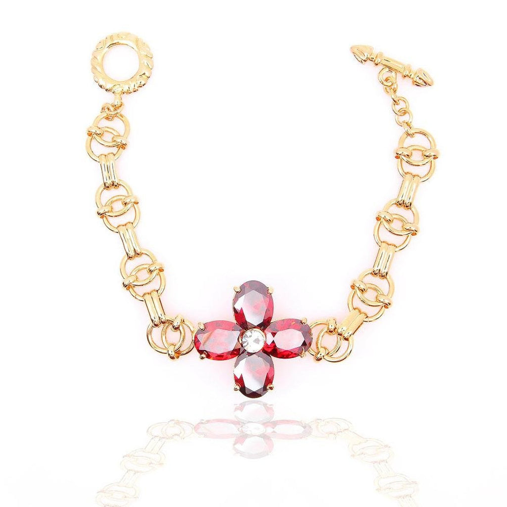 Rhinestone yellow gold plated red crystal flower bangle bracelet bridal bracelet - Pendants and Charms