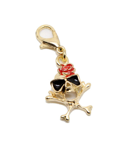 jewelleryjoy Gold Tone Skull red Rose Clip On Dangle Bead for Silver European Charm Bracelets Clip On Charm Chain Link Bracelet