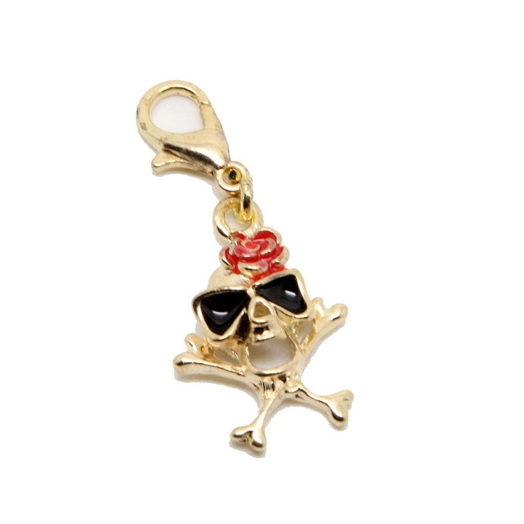 Gold tone skull red rose clip on  charm pendant  bead - Pendants and Charms