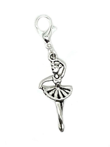 Ballet Ballerina Gymnast Gymnastics Dance Lobster Clasp Clip On Charms Pendant in Organza Charm Necklace - Pendants and Charms