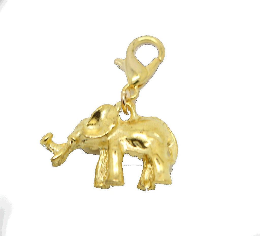 Clip On Elephant Gold Tone Charms Pendants in Organza Gift Bag