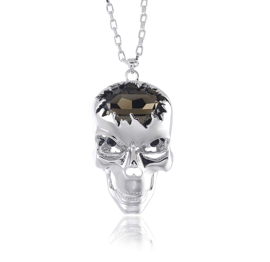 jewelleryjoy Grey Crystal Skull Halloween Pendant Chain Necklace