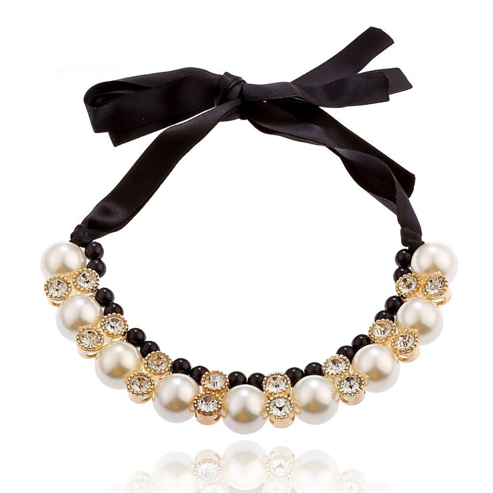 White Black Fashion Pearl Choker Vintage Look Crystal Chunky Statement Necklace