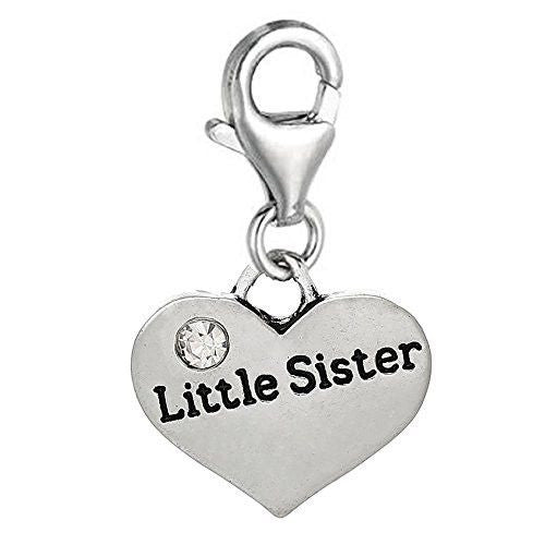 Little Sister Message Charms silver tone meaning word charms for floating necklace chain bracelet - Pendants and Charms