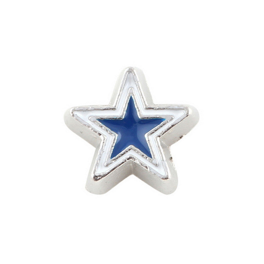 Floating charms Blue White Star and 5 birthstones locket Charm Bracelets necklace - Pendants and Charms