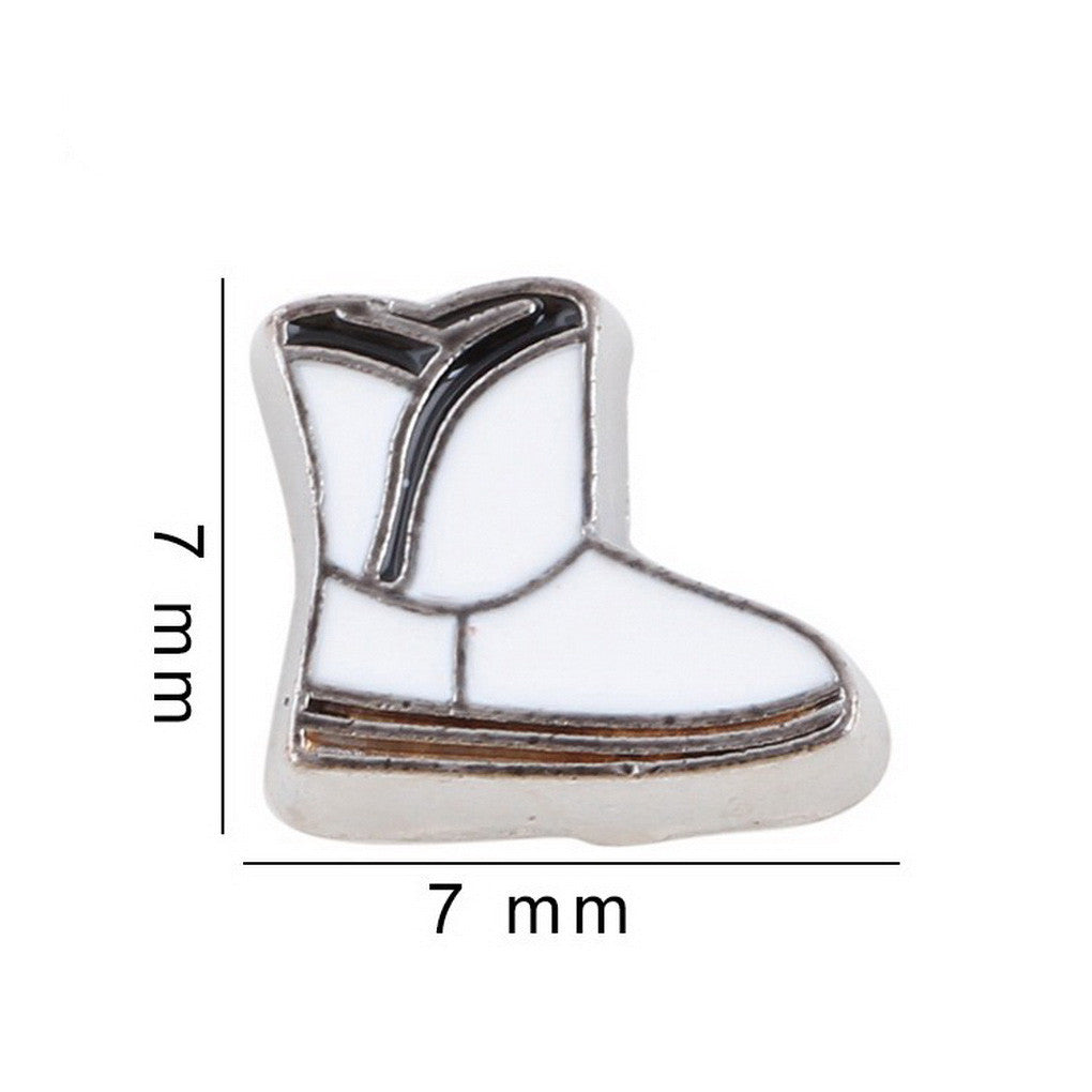 Floating charms White Boot Shoe and 5 birthstones locket Charm Bracelets necklace - Pendants and Charms