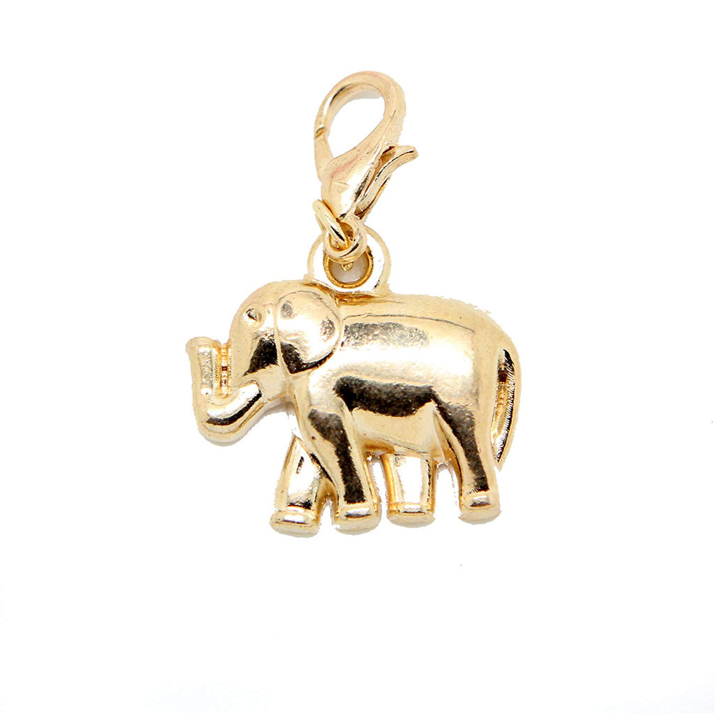 Clip On Elephant Gold Tone Charms Bead in Organza Gift Bag