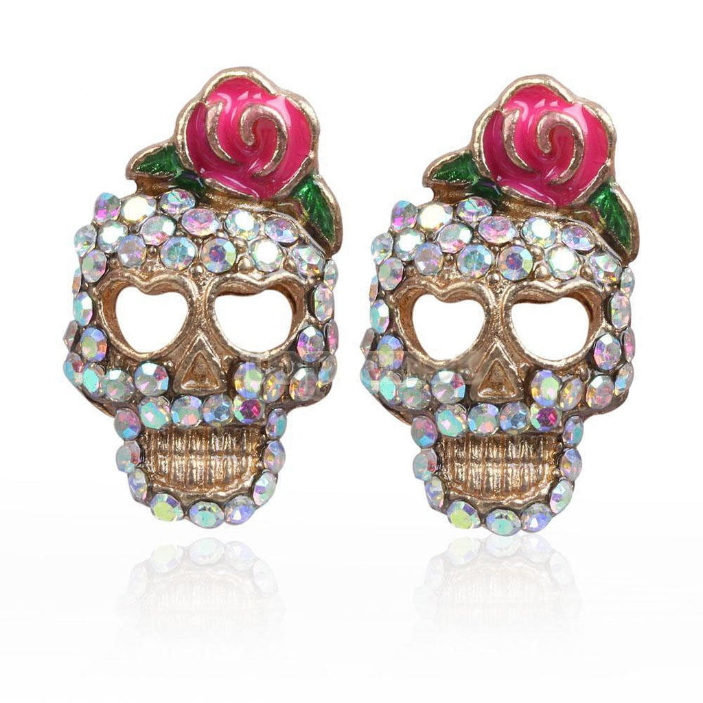 Stud earrings ab rhinestone pik rose skull stud earrings - Pendants and Charms