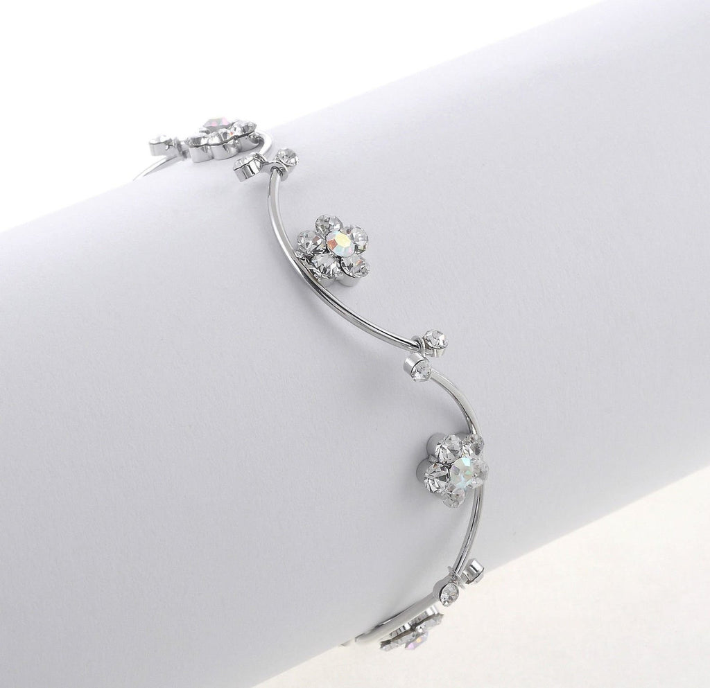 Crystal Rhinestone gold silver plated daisy flower chain bangle bracelet bridal bracelet (Silver) - Pendants and Charms