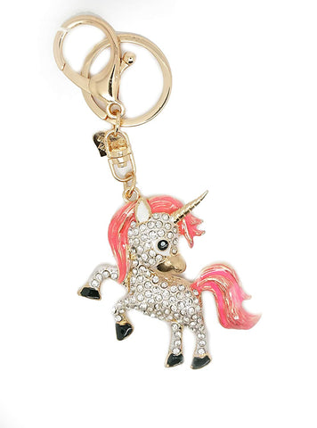 Pink Unicorn Magic Rhinestones Diamante Key Ring Key Chain Charm Pendant Accessory Keyring