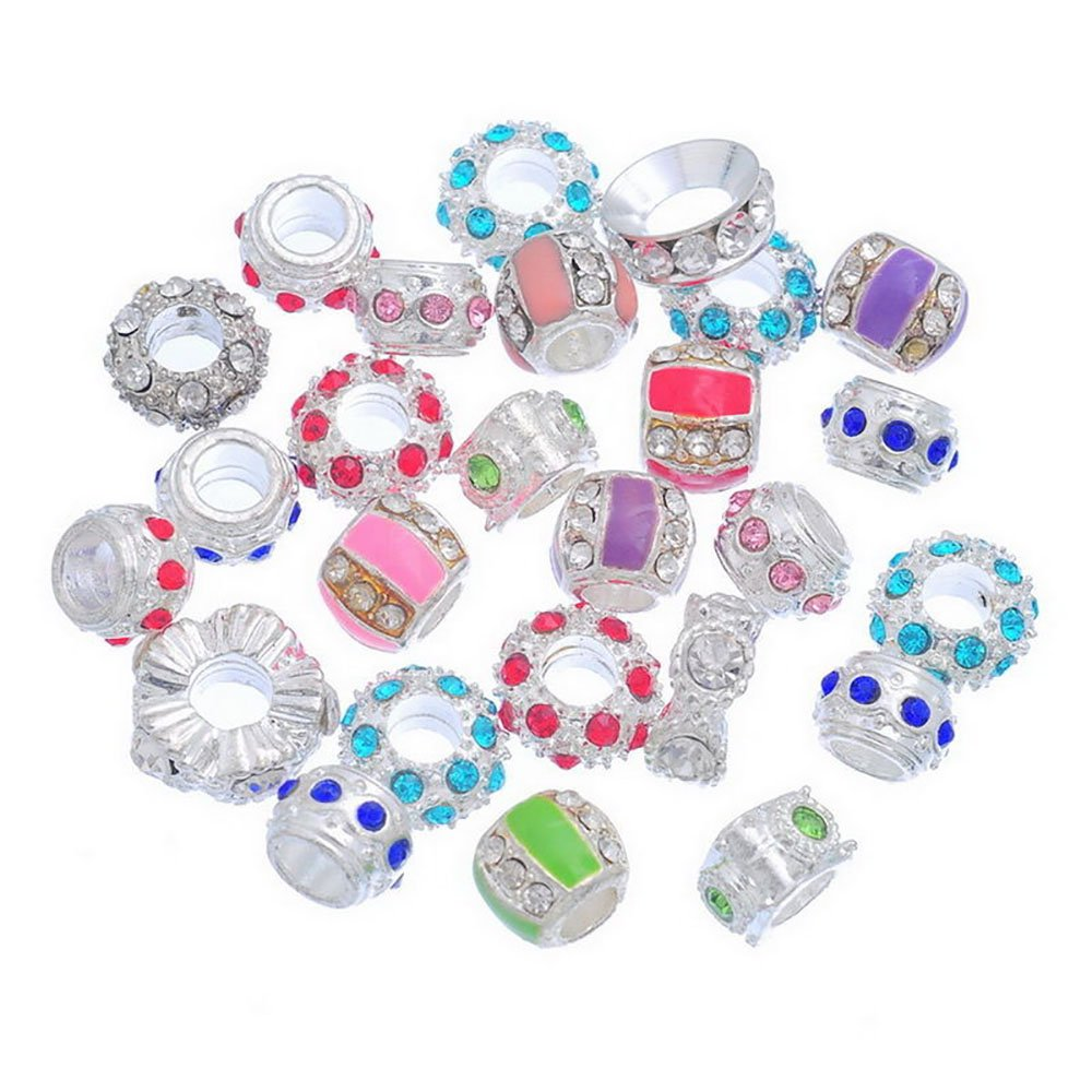 Rhinestone Charms Colour Mixed Colourful Rhinestone European Beads fit Charms Bracelet