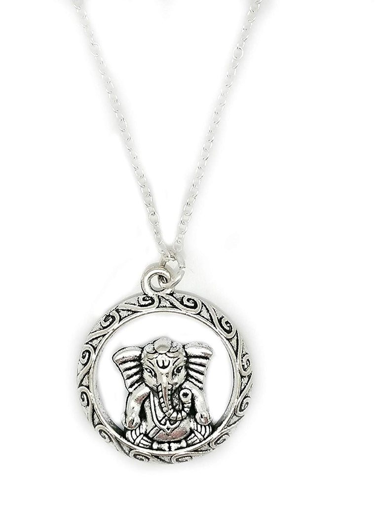 jewelleryjoy Ganesha Elephant Goodness Tibetan Silver Charm Sterling Chain Necklace in an Organza Gift Bag