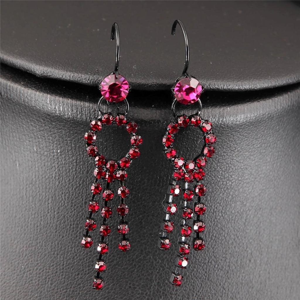 art deco black enamel red pink crystal necklace drop rhinestone earrings necklace set - Pendants and Charms