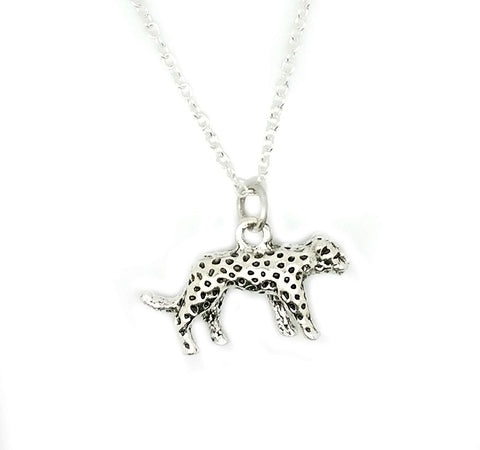 Cheetah Cat Leopard Tibetan Silver Charm Sterling Chain Necklace in an Organza Gift Bag