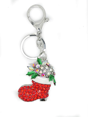 Christmas Sock Red Enamel Rhinestones Diamante Key Ring Key Chain Charm Pendant Accessory Keyring - Pendants and Charms