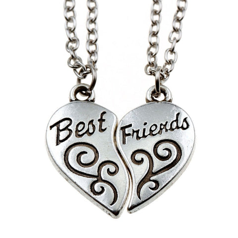 Broken Heart 2 Piece Best Friends Women Men Couple Silver Pendant Necklace in Organza Gift Bag