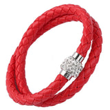 Pu Leather Wrap Magnetic Shamballa Bracelet in Organza Gift Bag