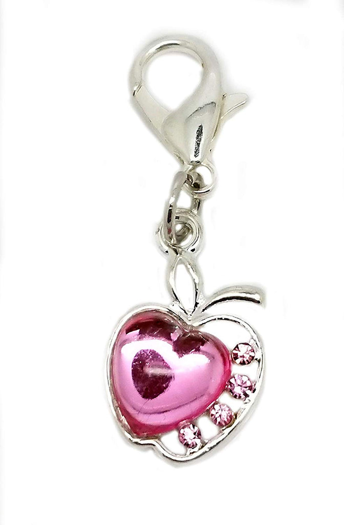 Rhinestone Crystal Pink Apple Clip On Lobster Clasp Charm for Bracelet Necklace