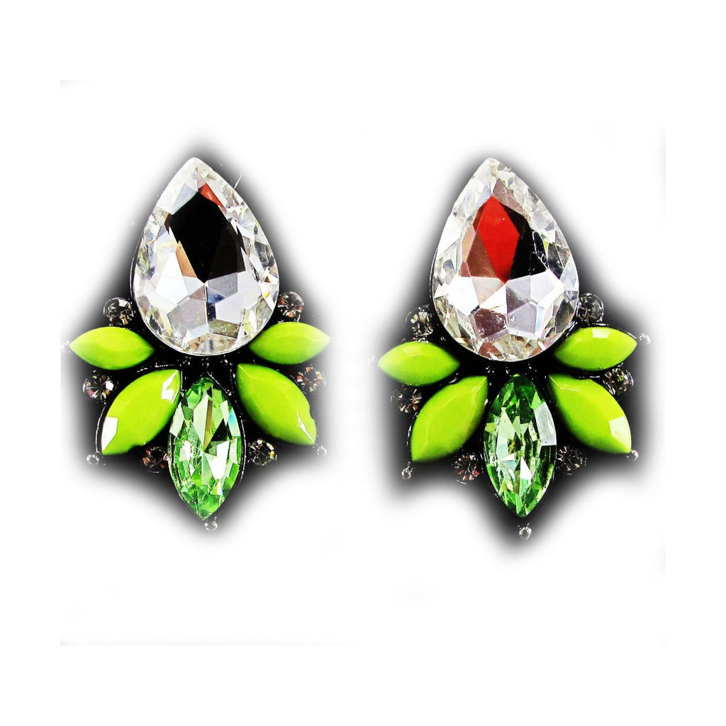 White Green faceted silver tone hoop dangle Stud Fashion Earrings flower star