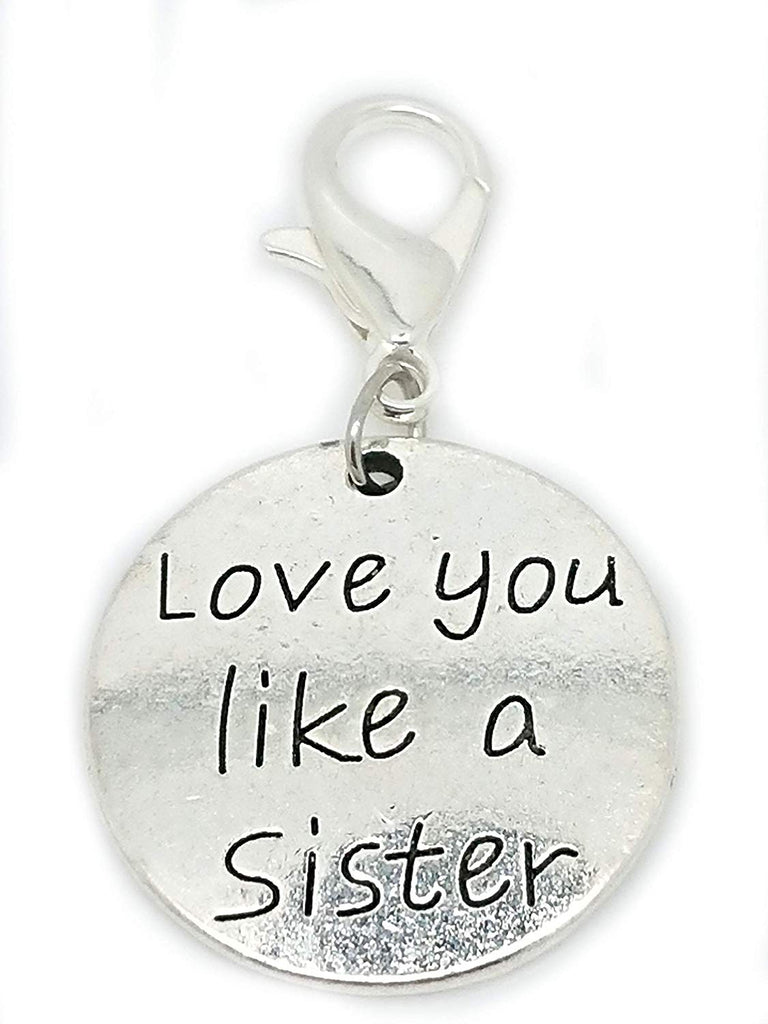 Love You Like a Sister Circle Clip On Lobster Clasp Charm for Bracelet in Organza Gift Bag