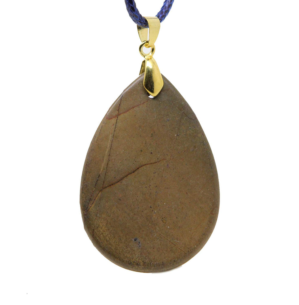 jewelleryjoy Geode Drusy Agate Browns Gemstone Handmade Necklace Waxed Cotton Cord in Organza Gift Bag