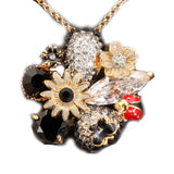 Flower Ladybird Pendant Necklace in Organza Gift Bag