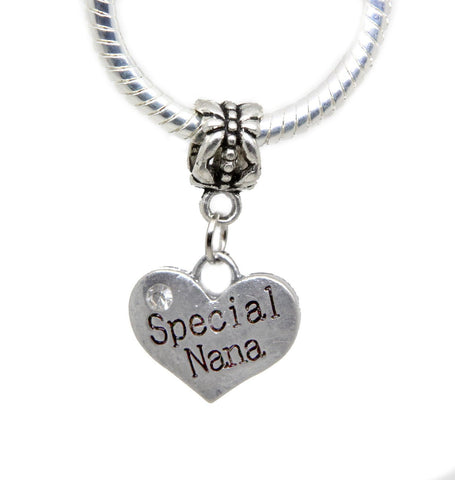 Special Nana Silver tone  white rhinestone charms beads pendant (silver dangle) - Pendants and Charms