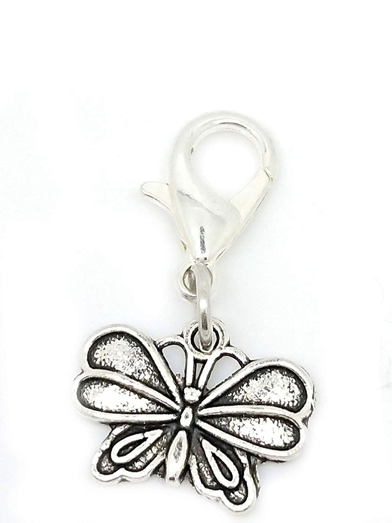 jewelleryjoy Tibetan Silver Butterfly Clip On Lobster Clasp Charm for Bracelet Necklace