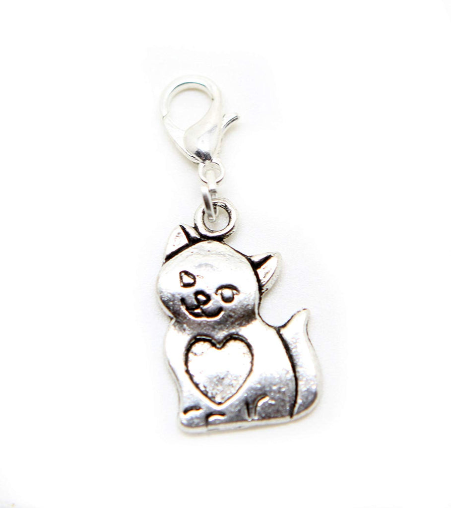 Dangle Beads Cat Kitten Tibetan Silver Charm Beads in Organza Gift Bag
