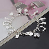 Hosaire 1X Charm Fashion Thirteen Chain Silver Bracelet For Women Girls With Crystals