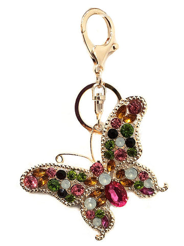Rhinestones Bee Bug Insect Key Ring Key Chain Charm Pendant Accessory Handbag Diamante Charm