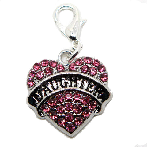 Daughter Pink Heart Rhinestone Clip On Lobster Clasp Charm in Organza Gift Bag