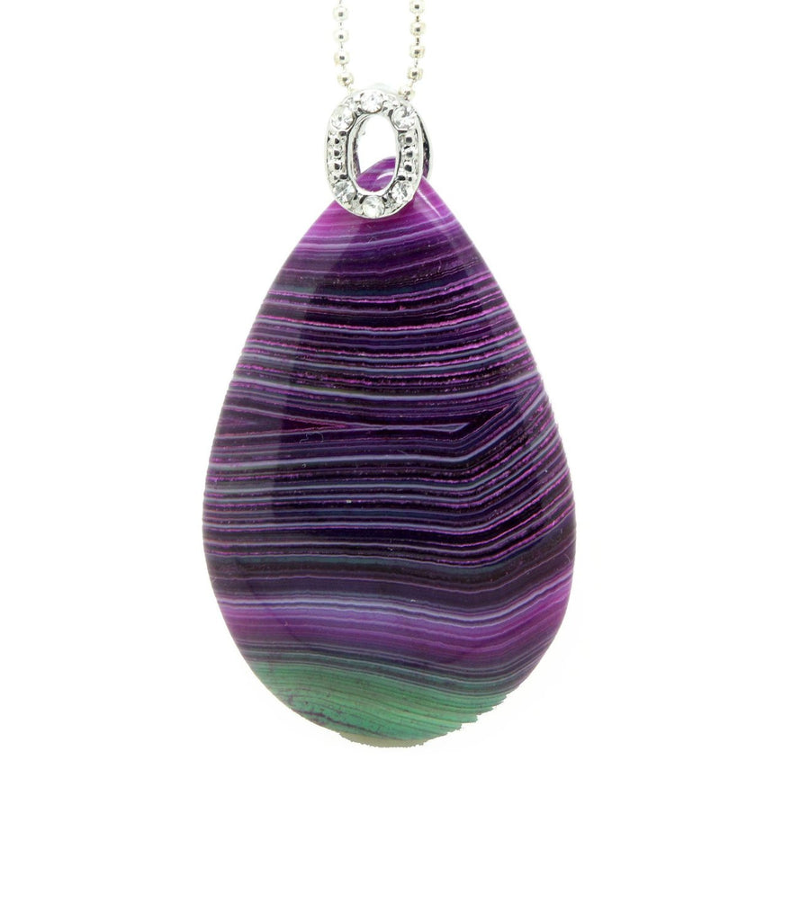 Green Purple Dragon Vein Agate Gemstone  Teradrop Necklace pendant 16. inch waxed cotton cord - Pendants and Charms