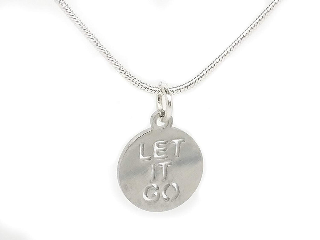 Let it Go Stainless Steel Slogan Pendant Charm Chain Necklace in an Organza Gift Bag